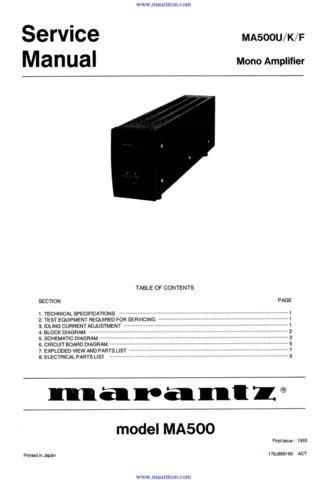 MARANTZ MA500 Service Manual with Schematics Circuits on Mauritron CD