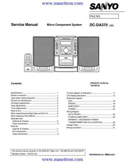 SANYO DC-DA370UK Service Manual with Schematics Circuits on Mauritron CD