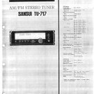 SANSUI TU717 Service Manual with Schematics Circuits on Mauritron CD