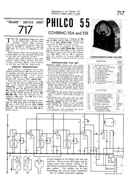 Philco 55E Technical Repair Manual Mauritron