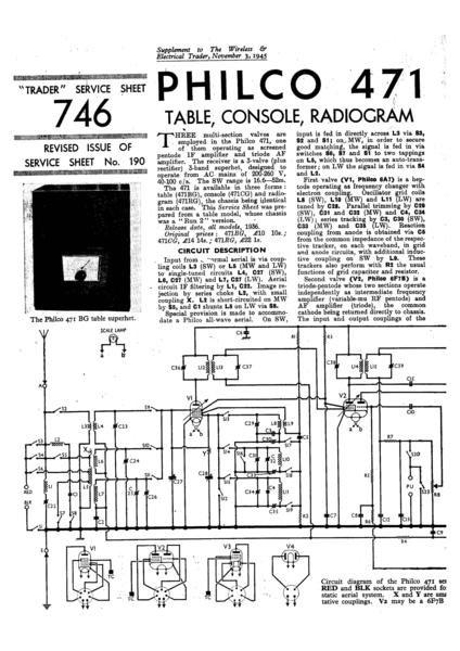 Philco 471BG Technical Repair Manual Mauritron