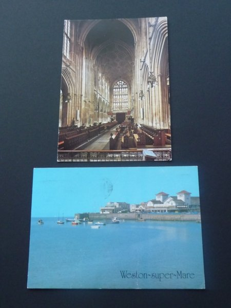 Postcards Avon Weston Super Mare & Bath Abbey Mauritron #5011