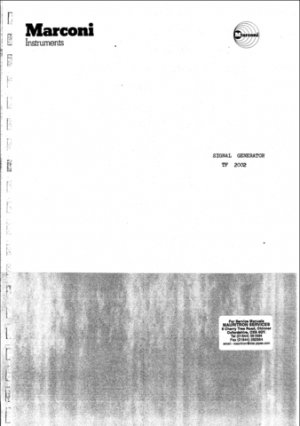 Marconi TF2002 Service Manual Mauritron#280