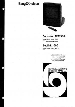 B & O Beovision MX1500 7800 Manual. Mauritron #990