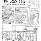 Philco 290 Trader Service Schematics. Mauritron #1168