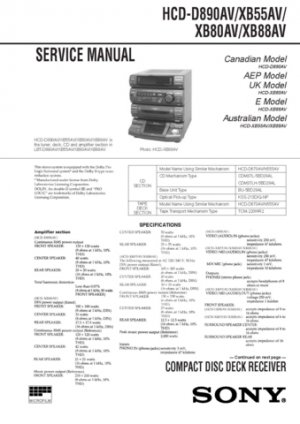Sony HCD-XB55AV Service Manual. Mauritron #1457