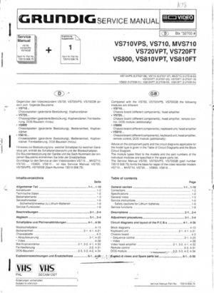 Grundig VS720 xx Service Manual. Mauritron #1518
