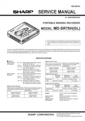 Sharp MDSR75 Service Manual. Mauritron #1892