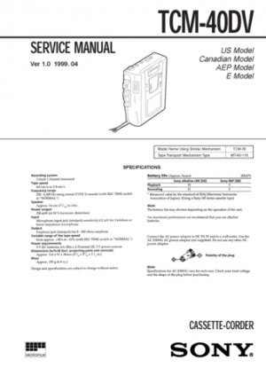 Sony TCM40DV Service Manual. Mauritron #3362