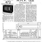 HMV 1351 Vintage Service Schematics Mauritron #3409