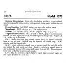 HMV 1373 Vintage Service Schematics Mauritron #3414