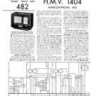 HMV 1404 Vintage Service Schematics Mauritron #3419