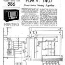 HMV 1407 Vintage Service Schematics Mauritron #3420