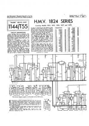 HMV 1826 Vintage Service Schematics Mauritron #3443