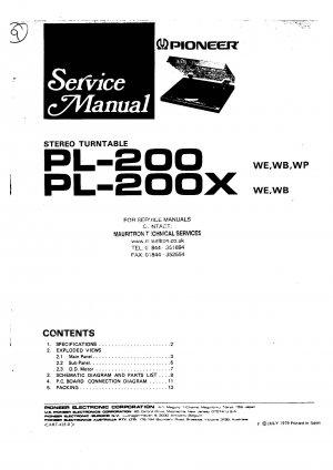 Pioneer PL200 Service Manual. Mauritron #3985
