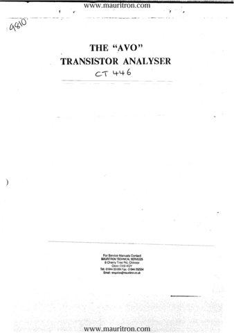 AVO CT446 Transistor Analyser Instructions
