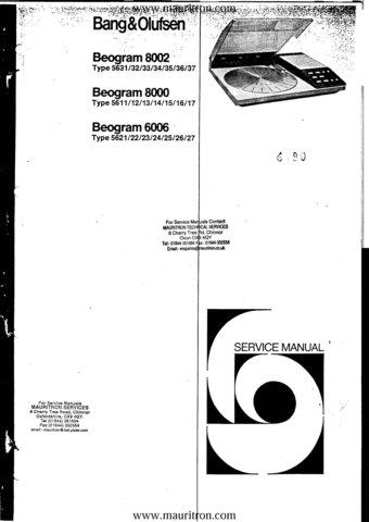 BangOlufsen Beogram 6006 Service Manual