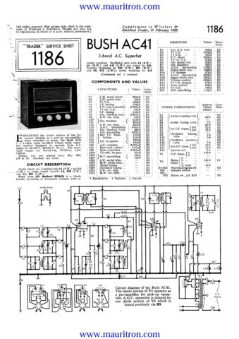 Bush AC41 Vintage Service Circuit Schematics