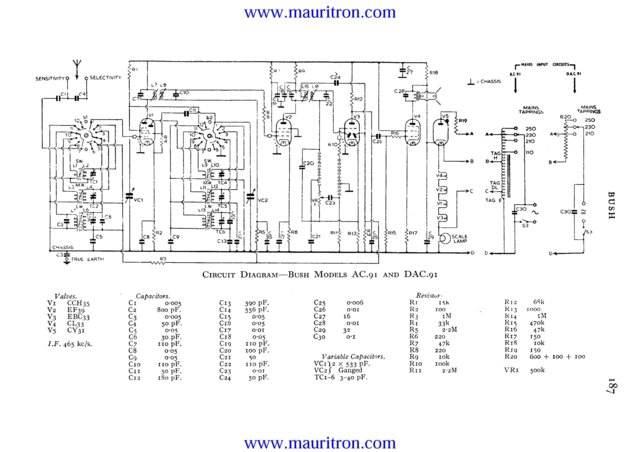 Bush DAC91 Vintage Service Circuit Schematics