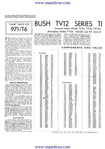 Bush TVF12A Vintage Service Circuit Schematics