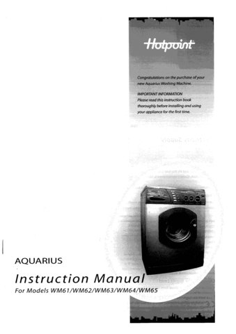 Hotpoint WM63 Operating Guide User Instructions