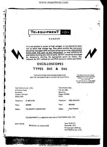 Telequipment D65 Service Manual Schematics