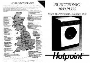 Hotpoint 9530 Washer Operating Guide