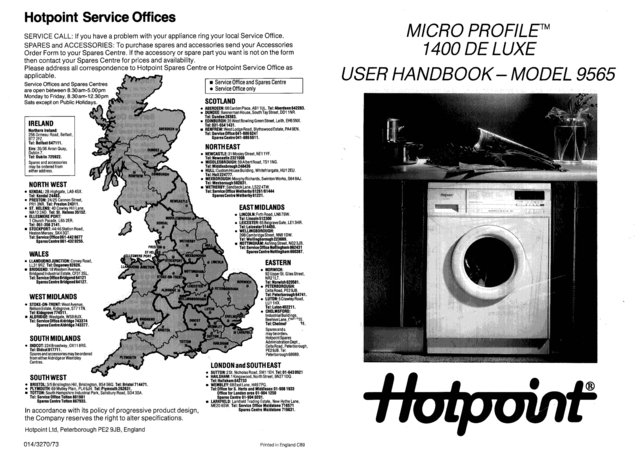 Hotpoint 9565 Washer Operating Guide