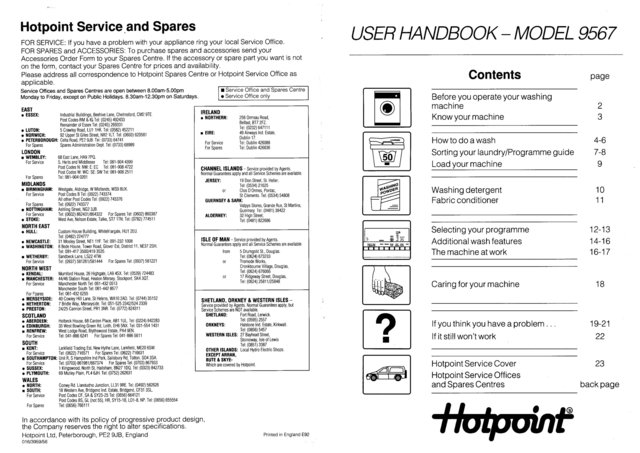 Hotpoint 9567 Washer Operating Guide