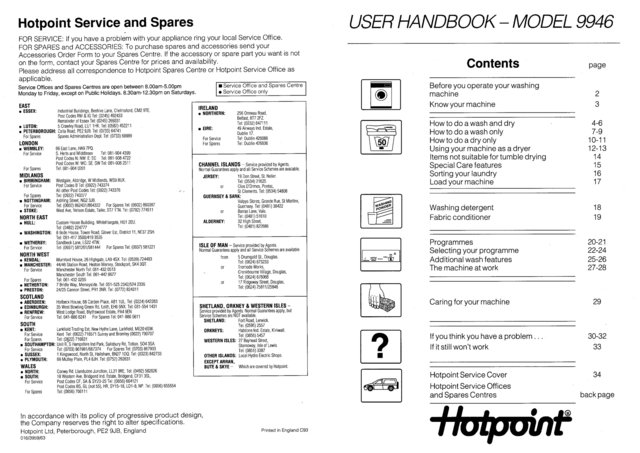 Hotpoint 9946 Washer Operating Guide