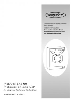Hotpoint BWM12 Washer Operating Guide