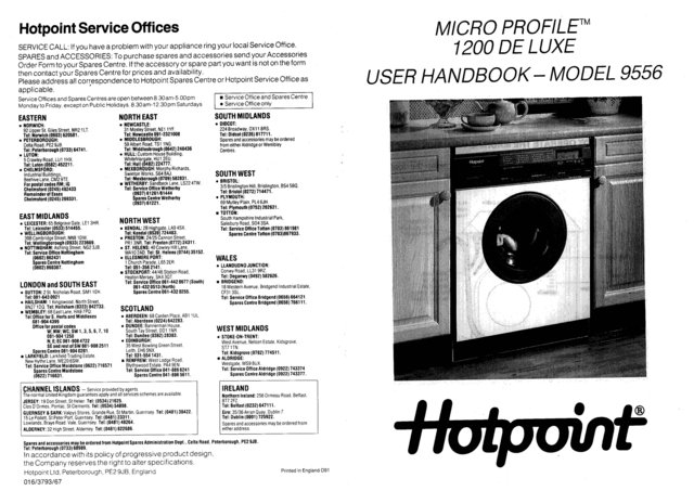 Hotpoint Micro Profile 1200 Deluxe 9556 Washer Operating Guide