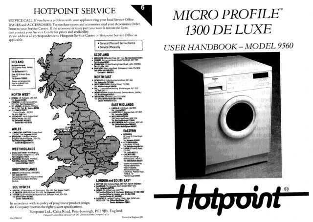 Hotpoint Micro Profile 1300 Deluxe 9560 Washer Operating Guide