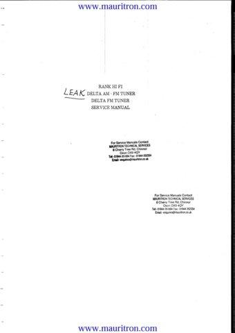 Leak Delta AM FM Schematics Service Circuits