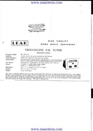 Leak Trough Line FM Schematics Service Circuits