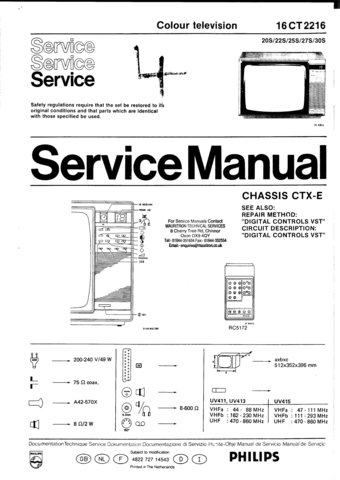 Philips 16CT2216 Service Manual