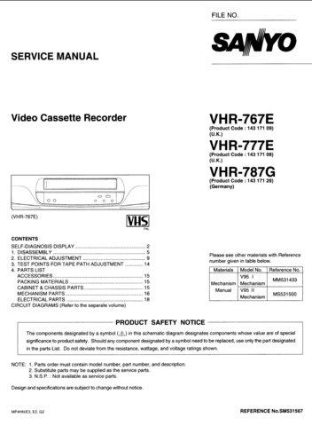 Sanyo VHR-787E Service Manual