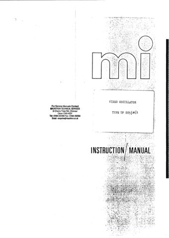 Marconi TF885A1 Service Instructions Circuits