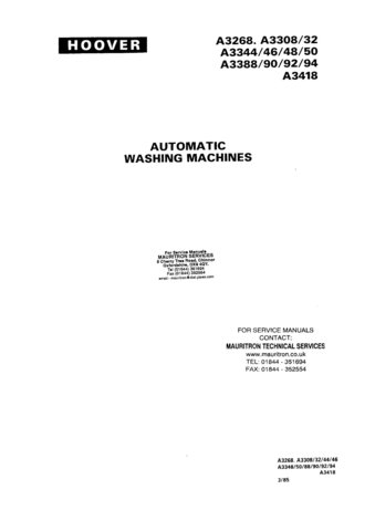 Hoover A3350 A-3350 Service Manual