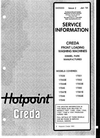 Creda 17045 Washing Machine  Service Manual