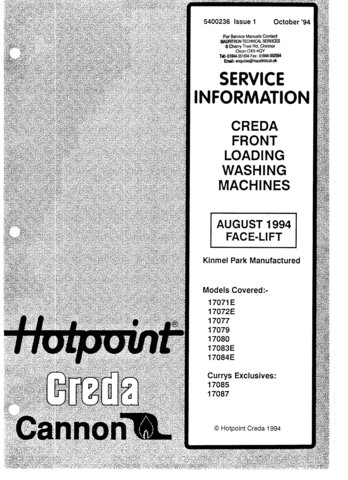 Creda 17072E Washing Machine  Service Manual