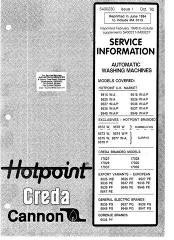 Hotpoint 9527PE Washing Machine  Service Manual