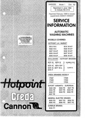 Hotpoint 9578P Washing Machine  Service Manual