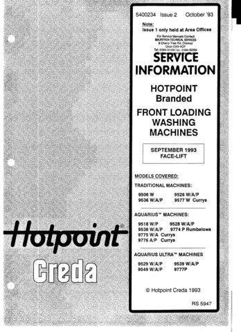 Hotpoint Aquarius Ultra 9529A Washing Machine  Service Manual