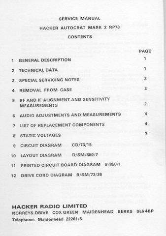 Hacker Autocrat Mk 2 RP73 (RP-73) Radio Workshop Service Manual with Schematics Circuits