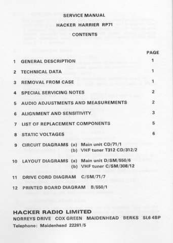 Hacker Harrier RP71 (RP-71) Radio Workshop Service Manual with Schematics Circuits