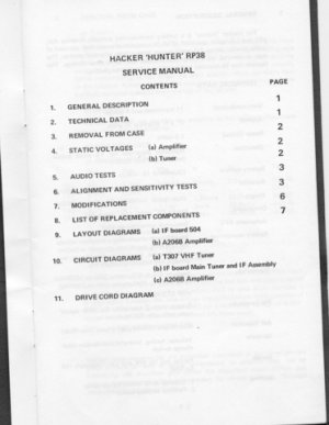 Hacker Hunter RP38 (RP-38) Radio Workshop Service Manual with Schematics Circuits