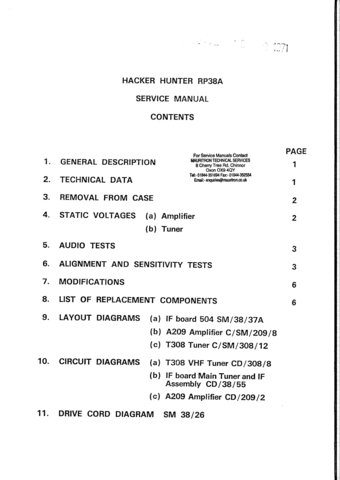 Hacker Hunter RP38A (RP-38A) Radio Workshop Service Manual with Schematics Circuits