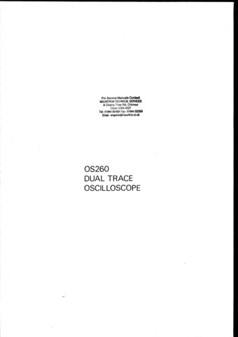 Advance OS260 (OS-260) Oscilloscope Instructions covers Service Schematics and User Operating