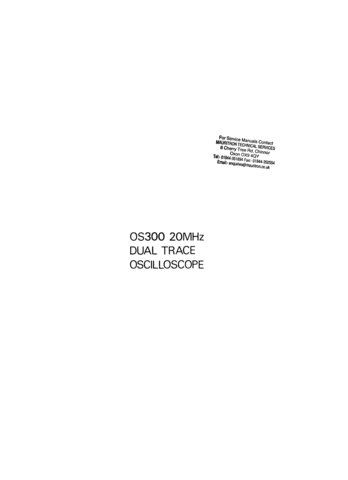 Advance OS300 (OS-300) Oscilloscope Instructions covers Service Schematics and User Operating